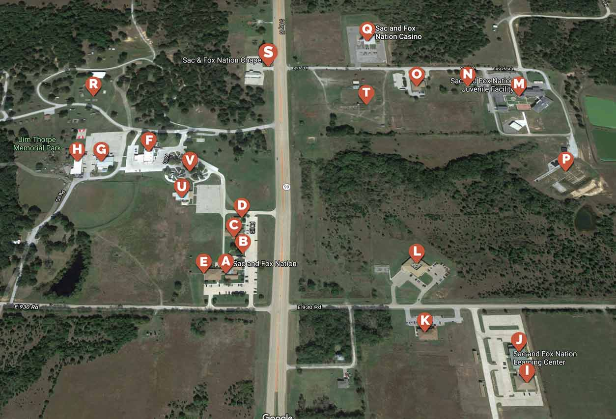 Google Maps satellite view of the Sac & Fox Nation area with pinned locations. Locations are defined in the legend list aside the map.