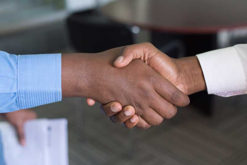 Shaking hands (greeting).